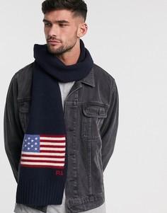 Темно-синий шерстяной шарф с рисунком американского флага Polo Ralph Lauren-Черный