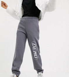 Серые флисовые джоггеры с принтом COLLUSION-Серый