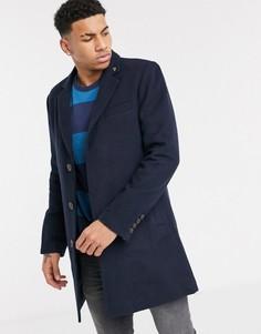 Темно-синее однобортное пальто Farah-Темно-синий