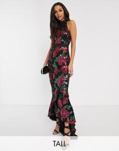 Платье макси с пайетками Chi Chi London Tall-Мульти