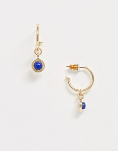 Серьги-кольца с полудрагоценными камнями ASOS DESIGN-Золотой
