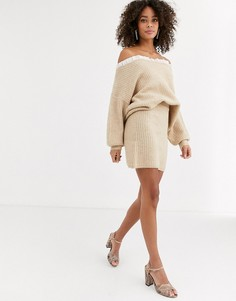 Бежевая вязаная мини-юбка Never Fully Dressed-Мульти