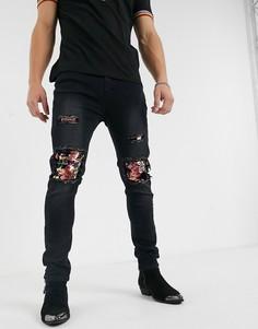 Черные джинсы скинни с рваной отделкой и пайетками One Above Another-Черный