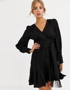 Черное платье мини с запахом и завязкой Forever New-Черный