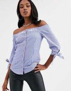 Блузка в клетку с вышивкой Dirndlalm-Синий Marjo