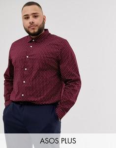 Бордовая рубашка классического кроя с принтом пейсли ASOS DESIGN Plus-Красный