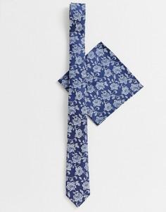 Темно-синий галстук и платок для пиджака ASOS DESIGN