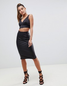 Юбка-карандаш из искусственной кожи ASOS DESIGN sculpt me-Черный