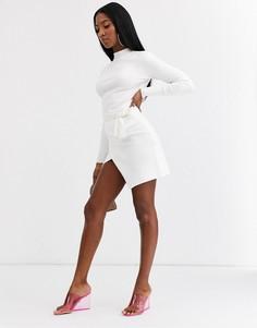 Комбинируемая мини-юбка в рубчик с запахом ASOS DESIGN-Белый