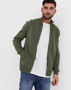 Трикотажная спортивная куртка цвета хаки ASOS DESIGN-Зеленый