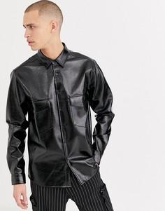 Черная рубашка классического кроя из искусственной лакированной кожи ASOS DESIGN-Черный