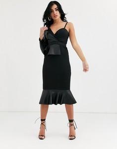 Облегающее платье миди из полиуретана на одно плечо ASOS DESIGN-Черный