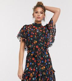 Платье мини с ярким цветочным принтом и оборками Twisted Wunder-Мульти