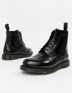 Черные кожаные ботильоны на плоской подошве со шнуровкой Dr.Martens Delphine-Черный