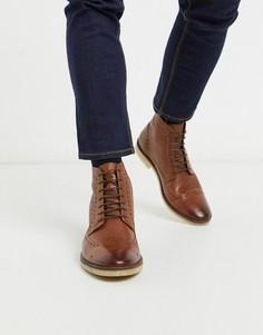 Светло-коричневые кожаные ботинки-броги ASOS DESIGN-Светло-коричневый