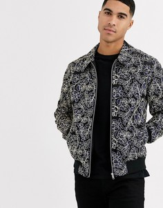 Куртка Харрингтон с золотистой цветочной вышивкой ASOS DESIGN-Темно-синий