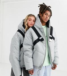 Серая дутая куртка унисекс с ремешками COLLUSION-Серый