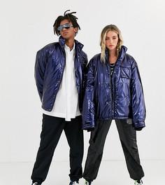 Синяя блестящая дутая куртка в стиле унисекс COLLUSION-Синий