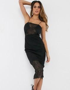 Облегающее платье миди на бретельках с кружевными вставками ASOS DESIGN-Черный