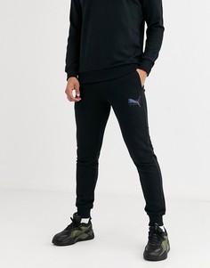 Узкие джоггеры с переливающимся логотипом Puma-Черный