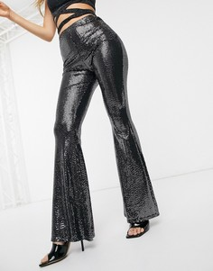 Черные расклешенные брюки с завышенной талией и пайетками Missguided-Черный