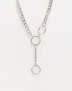Серебристое ожерелье с подвеской ASOS DESIGN-Серебряный