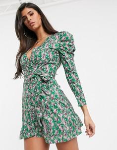 Чайное платье с пышными рукавами и оборками Missguided-Мульти