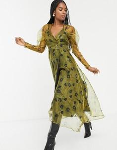 Платье миди с цветочным принтом и объемными рукавами Sister Jane-Желтый