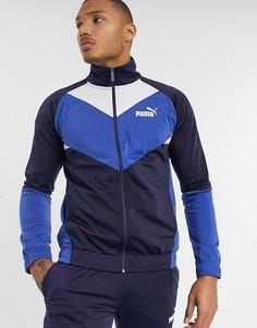 Синий спортивный костюм в стиле колор блок Puma
