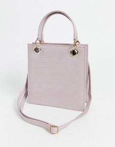 Розовая сумка через плечо с крокодиловым рисунком Glamorous-Розовый