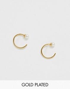 Позолоченные серьги-кольца с искусственным жемчугом Orelia-Золотой