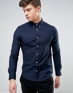 Эластичная оксфордская рубашка скинни Burton Menswear-Темно-синий