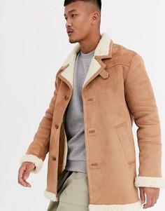 Куртка из искусственной замши с плюшевой подкладкой ASOS DESIGN-Светло-коричневый