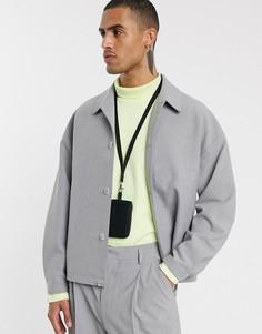 Серый свободный пиджак ASOS WHITE