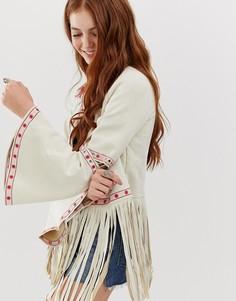 Фестивальная куртка с цветочной вышивкой Glamorous-Кремовый
