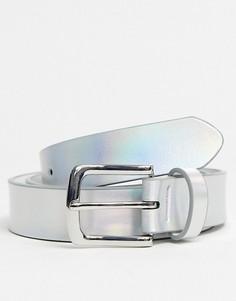 Серебристый ремень из искусственной кожи ASOS DESIGN-Серебряный