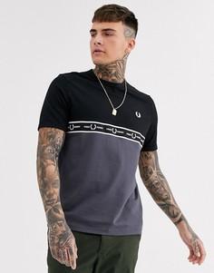 Серая футболка со вставками Fred Perry-Серый