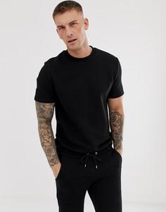 Черный спортивный костюм с топом с короткими рукавами и шортами ASOS DESIGN