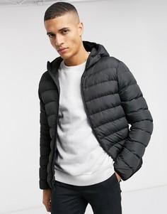 Дутая куртка на молнии с капюшоном French Connection-Черный
