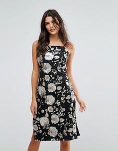 Платье миди с блестящими цветами из пайеток Goldie-Мульти