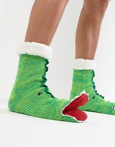 Носки-слиперы с дизайном динозавра с открытым ртом и пушистой подкладкой ASOS DESIGN-Зеленый