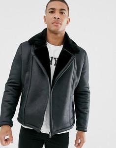 Черная куртка-авиатор из искусственной овечьей шерсти New Look-Черный