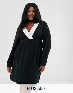 Платье-кимоно с контрастной отделкой Unique21-Черный