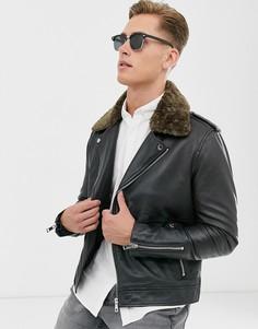 Кожаная байкерская куртка со съемным воротником из искусственного меха Barneys Originals-Черный