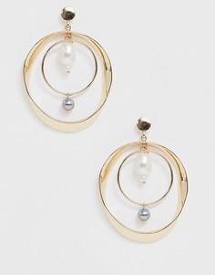 Золотистые ярусные серьги-кольца с жемчугом Ashiana-Золотой
