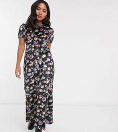 Бархатное чайное платье макси с цветочным рисунком ASOS DESIGN Petite-Мульти