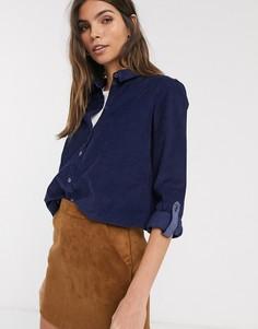 Темно-синяя рубашка из мелкого вельвета Esprit-Темно-синий