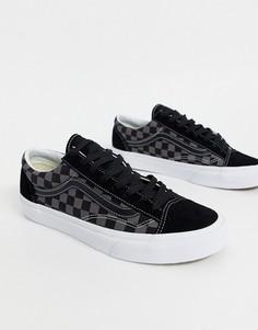 Черно-белые кроссовки с шахматным узором Vans Style 36-Черный