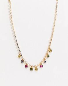 Золотистое ожерелье с фианитами и разноцветными подвесками ASOS DESIGN-Золотой