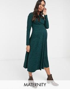 Зеленое свободное платье с цветочным принтом New Look Maternity-Зеленый